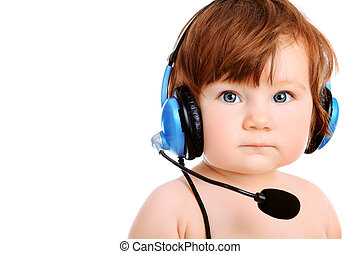 headphone - Adorable baby girl with headset microphone....