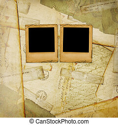 Vintage aged background, old Postcard, envelopes and slides