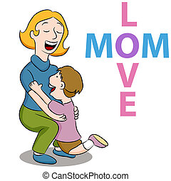 Mom Love Son - An image of a mother picking up her son to...