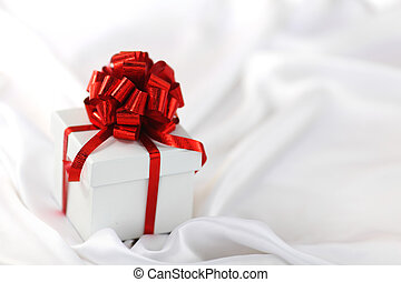 christmas gift -  christmas gift on white silk background