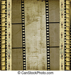 Old papers and grunge filmstrip on the alienated background