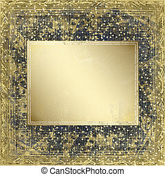 Abstract crushed ancient background in scrapbooking style with wooden frame