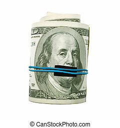 Shut Up! Benjamin Franklin mouth covered - This photograph...