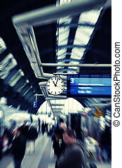 This photograph represent a clock in Train Station Grand...