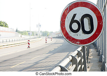 Speed limit sign at a highway