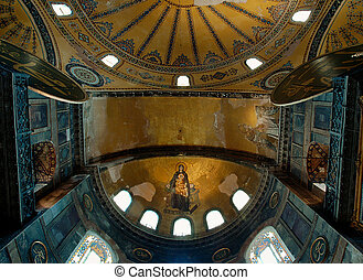 Madonna and Child mosaic in apse - This photograph represent...
