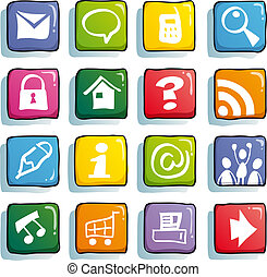 funny color icons - internet color buttons for cute website
