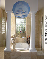 Bathtub - Modern column marble white bathtub