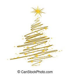 christmas tree scribble - illustration
