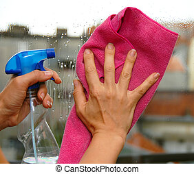 Glass cleaning - young woman hands on window cleaning a...