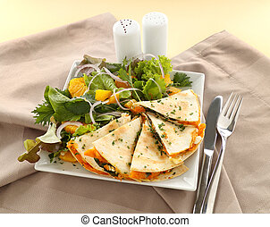 Pumpkin Quesadilla - Delicious pumpkin quesadilla sliced and...
