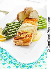 Salmón, pez, comida