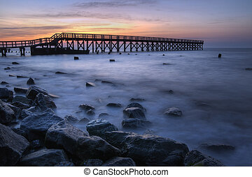 Wooden Pier Sunrise - Sunrise at the fishing pier at Port...