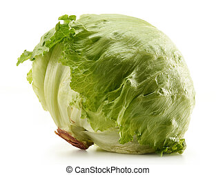 Crisphead, Iceberg, Lettuce isolated on white