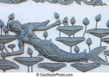 Sculpture of Thai mermaid - Color of cement is very classic