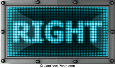 right  announcement on the LED display