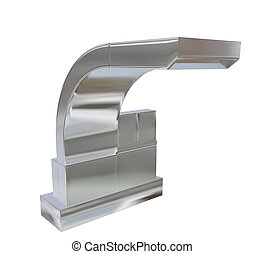 Modern square faucet with chrome or stainless steel...