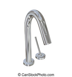 Modern faucet with chrome or stainless steel finishing, with...