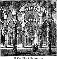 Cathedral-Mosque of Cordoba in Andalusia, Spain, vintage engraving