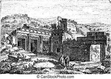 Ruins of Cyrene, in Shahhat, Libya, vintage engraving