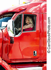 Pretty blonde woman driving a big truck - Pretty blonde...