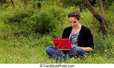 beautiful girl using computer in countryside 3