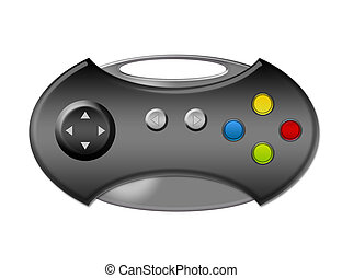 game pad - gray game pad with buttons over white...