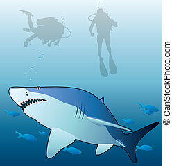 shark, tropical fishes and scuba divers