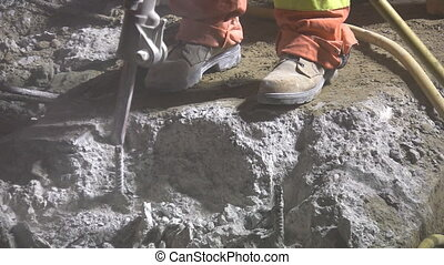 Jackhammer Closeup - Jackhammer closeup Road crew working at...