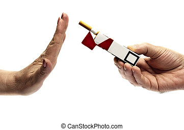 Refusing ccigarette - Woman hand refusing cigarette pack