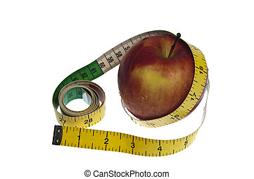 Measurement tape and apple