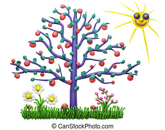 The lonely isolated plasticine apple-tree children collage