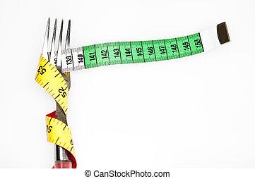 medida, cinta, tenedor