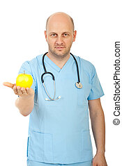 Doctor man giving yellow apple