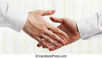 Handshake - Business people hand greeting or meeting...