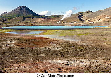 Colorful ground in Namafjall - Iceland - Colorful ground,...