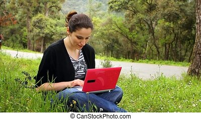 beautiful girl using computer in countryside, phaeton passing behind