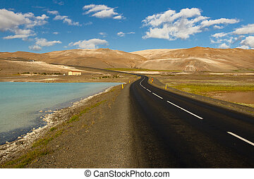 Empty route - Iceland, Myvatn area.