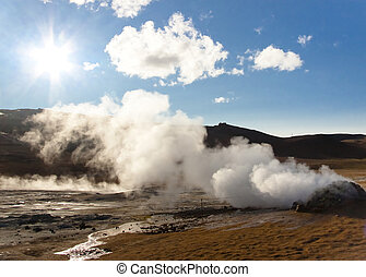 Namafjall, Iceland. Sunny day. - Steam at high pressure of...