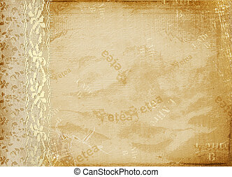 Vintage cover for album  with gold lace