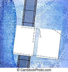 Frame for photo on the blue abstract background