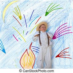 Trendy boy - Trendy boy on the background of childrens...