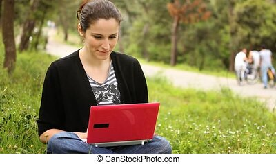 beautiful girl using computer in countryside, phaeton passing behind 2