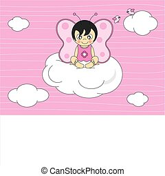 girl sitting on the cloud