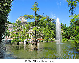 Crystal Palace El Retiro Madrid Spain and lake - View of...