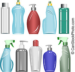 Plastic Bottles Set 6 - Set of illustrations of ten...