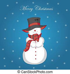 Christmas card. snowman-vector