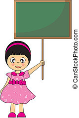 Back to school.Girl with a blackboard. Drawing isolated...