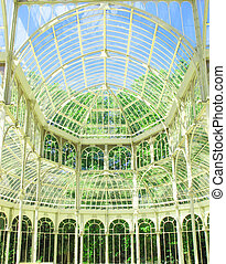inside the crystal palace of El Retiro Madrid Spain - inside...
