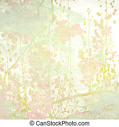 Watercolor Flowers Art Background - Grunge Pastel Flower Art...